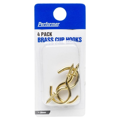 Brass Cup Hooks - Set of 4