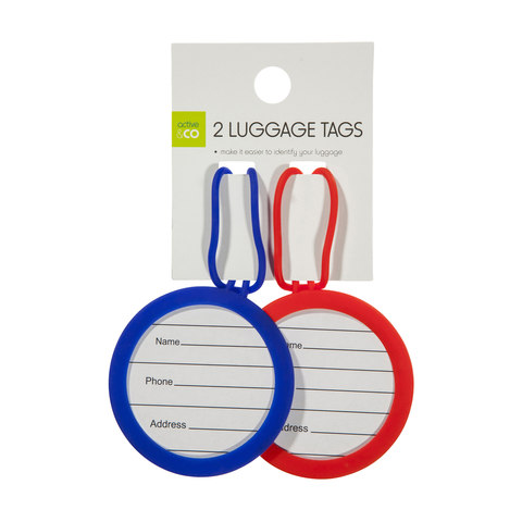 Luggage Tags - Red & Blue, Set of 2