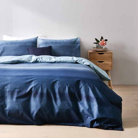 Ombre Quilt Cover Set - Queen Bed, Blue