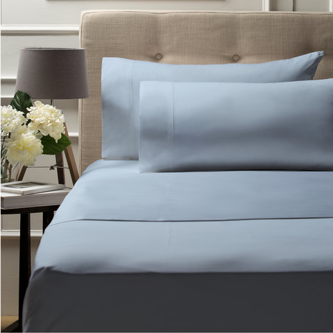 500TC Bed Sheet Set - Queen Bed, Sky Blue