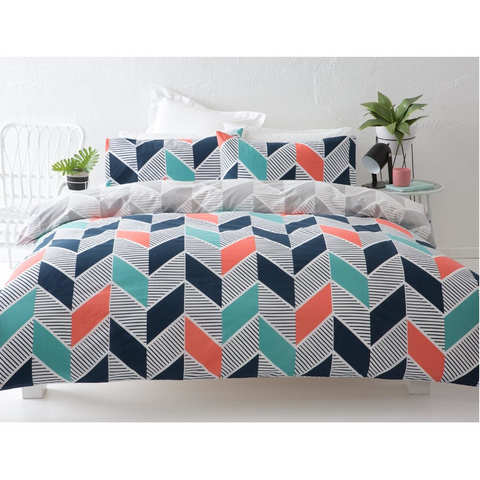 Reversible Ziggy Quilt Cover Set - Single Bed