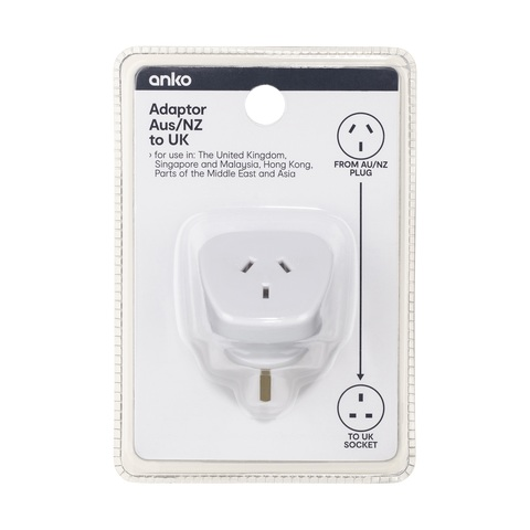 Adaptor - AU/NZ Plug to UK Socket - Triple Flat Pins