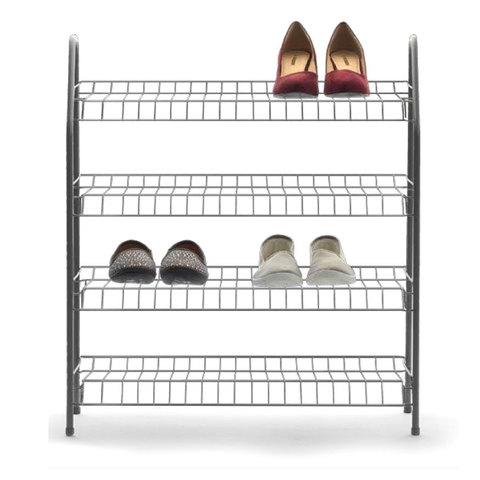 4-Tier Shoe Rack - Silver