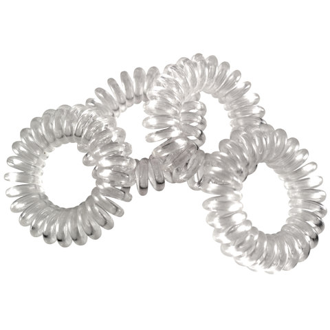 4 Pack Clear Spiral Elastic Hair Hoops