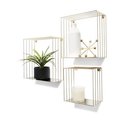 Marvelous 3 Brass Look Square Shelves Download Free Architecture Designs Oxytwazosbritishbridgeorg