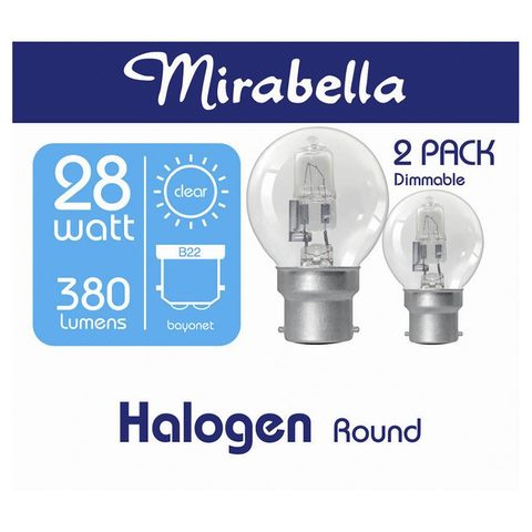 Mirabella Halogen Fancy Round Bulb - 28W, BC, Set of 2