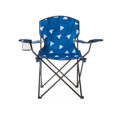 Padded Camp Chair - Blue & White