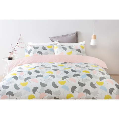 Reversible Ginko Quilt Cover Set - Double Bed