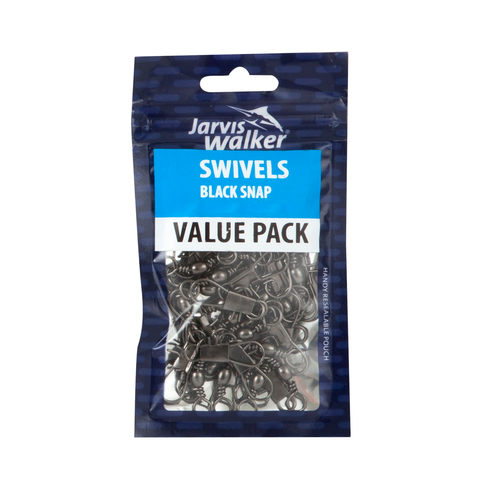 Jarvis Walker Black Snap Bulk Pack Swivels - Size 8, Pack of 40