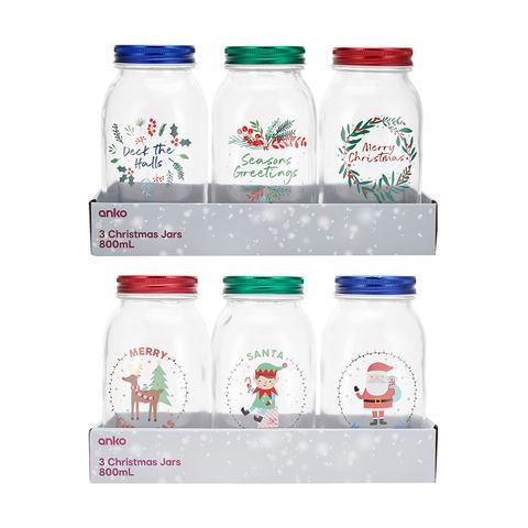 3 Pack 800ml Christmas Jars , Assorted
