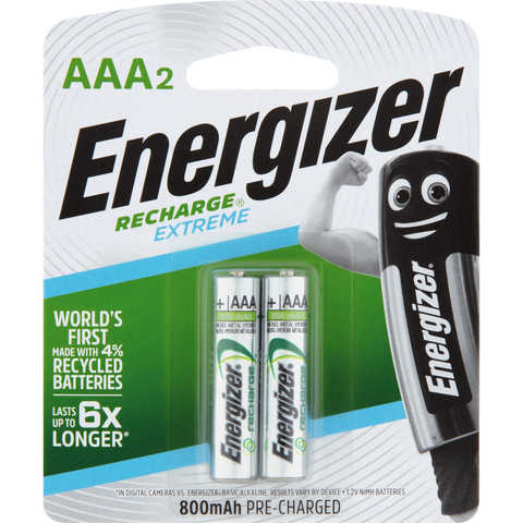 Energizer Recharge Extreme Batteries - AAA, Set of 2