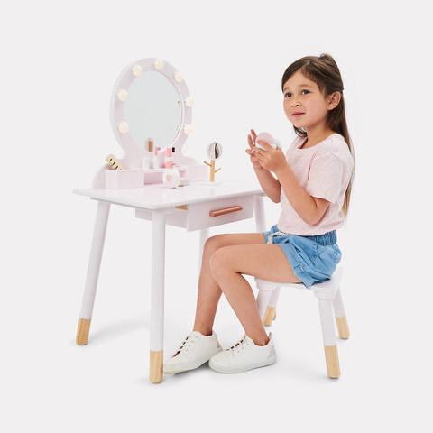9 Piece Deluxe Wooden Light Up Vanity And Accessories Kmart