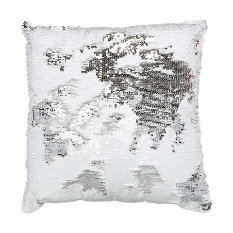 Sequin Cushion - Silver Look & White