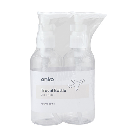 2 Pack 100ml Pump Travel Bottles