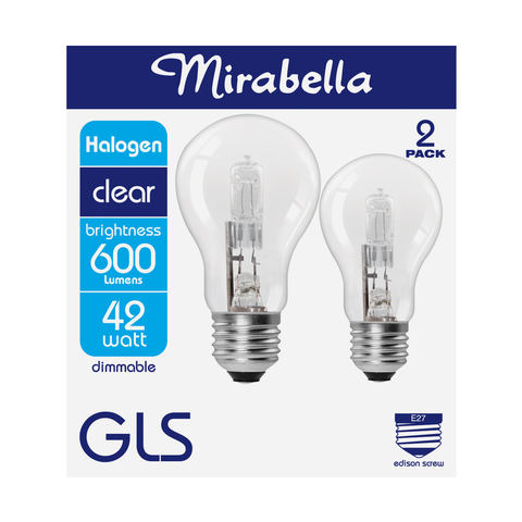 Mirabella 2 Pack B22 42W Dimmable Halogen GLS Bulb