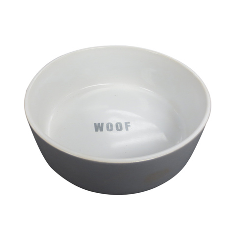 Ceramic Pet Bowl - Large, Grey & White