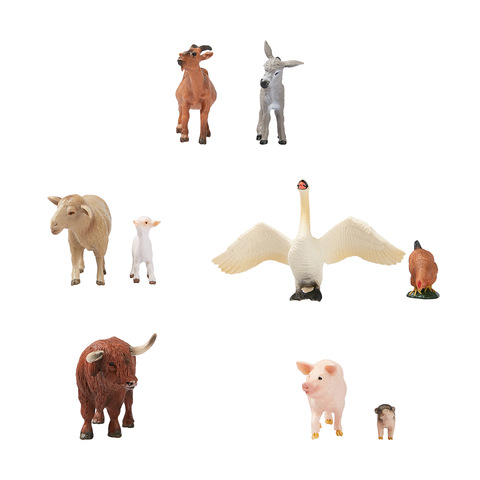 Cute Plastic Land Animals Figurine Realistic Home Office Decor Collection