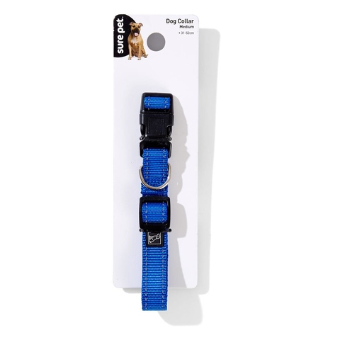 Reflective Dog Collar - Medium, Blue