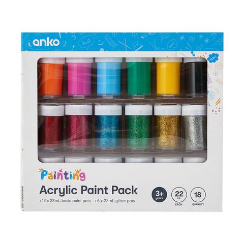 18 Pack Acrylic Paint Kmart