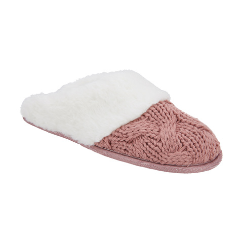 Elevated Cable Knit Scuff Slippers | Kmart