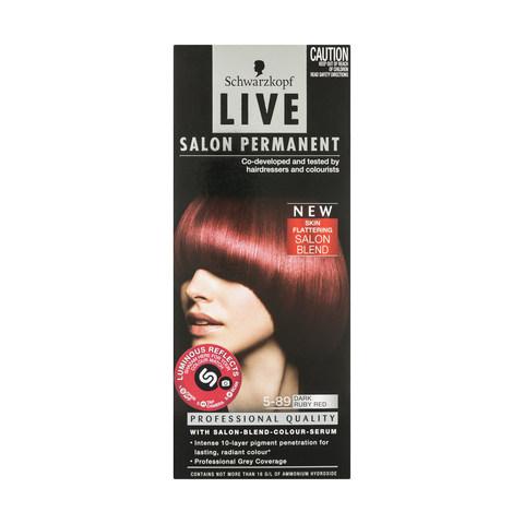 Schwarzkopf 5 89 dark ruby red live salon permanent colour for Salon schwarzkopf