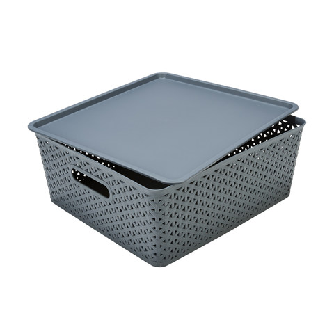 Storage Container With Lid Flat Grey