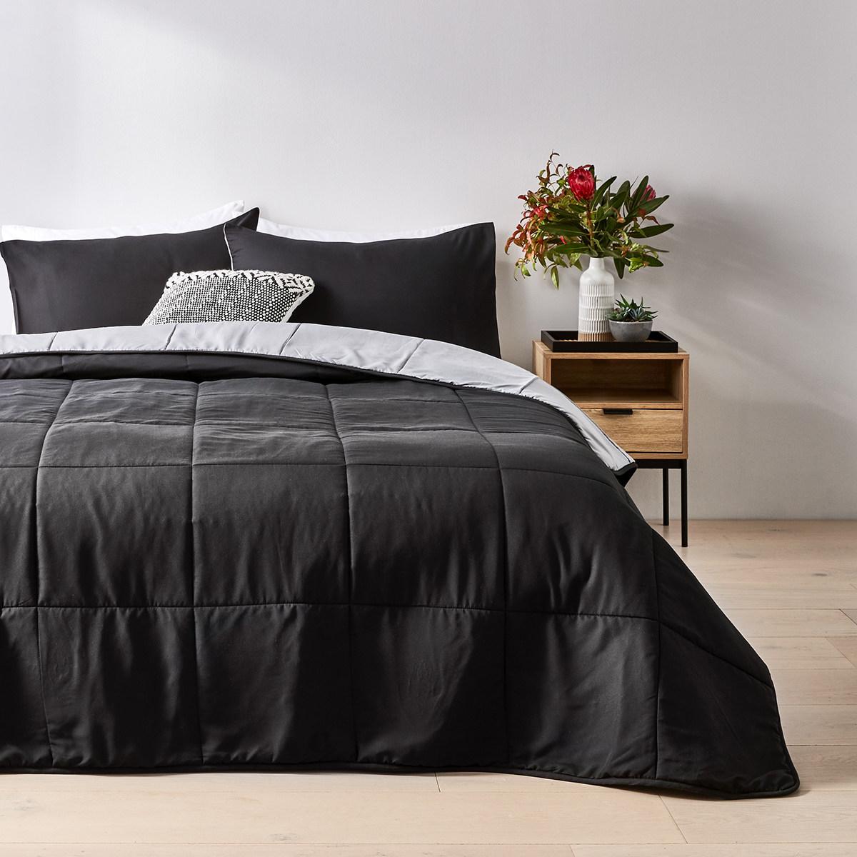 Reversible Comforter Set Single Bed Black Kmart