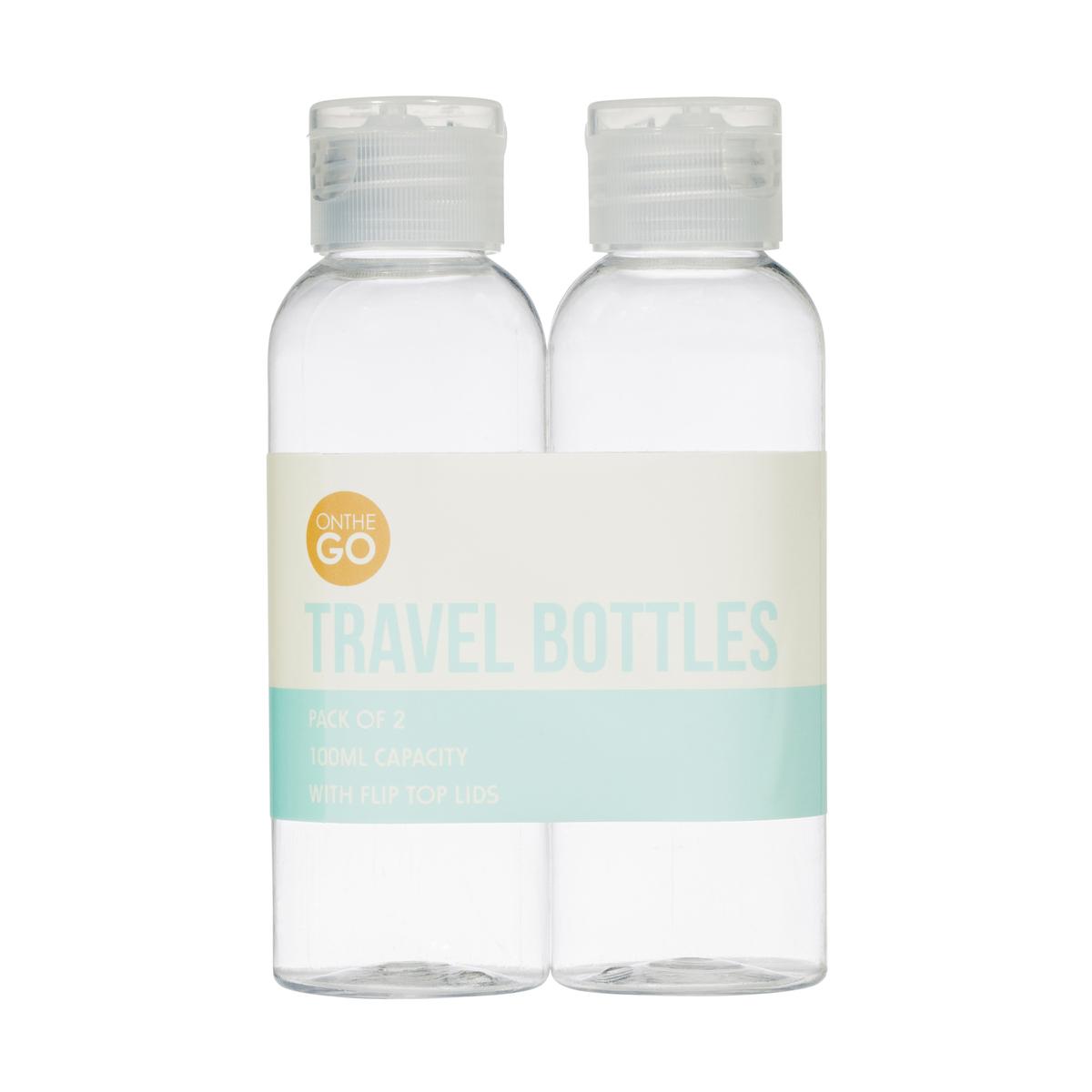 100ml 2 Pack Clear Travel Bottles Kmart
