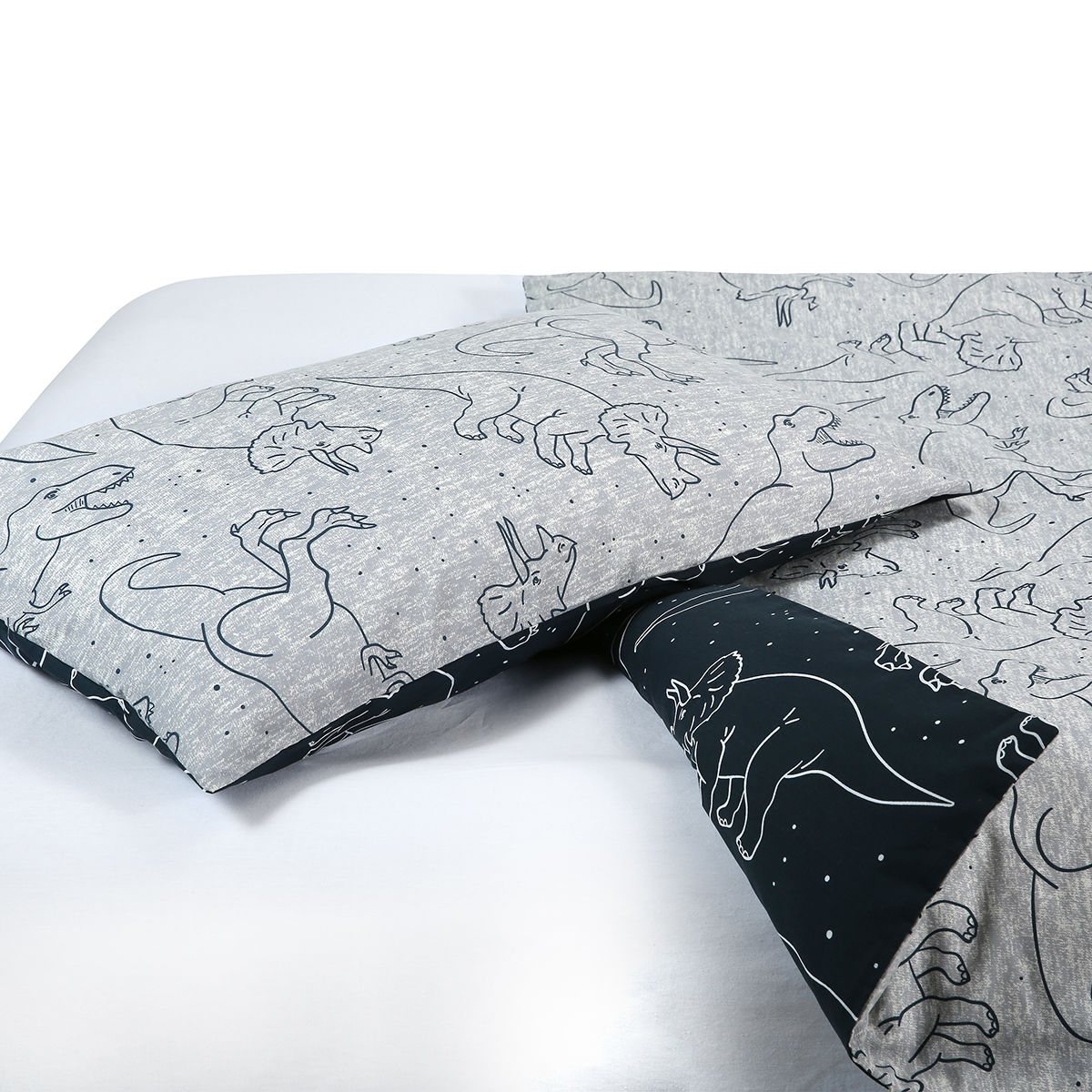 dino reversible quilt cover set single bed