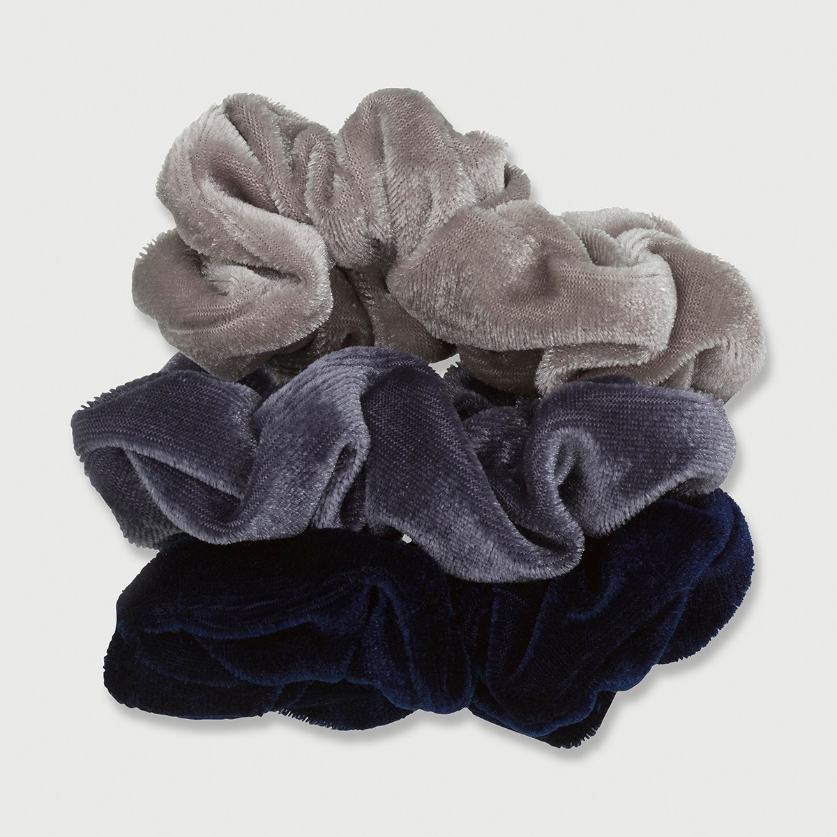3 Pack Velvet Scrunchies - Blue | Kmart