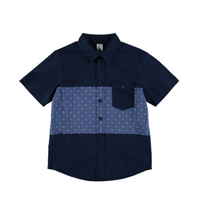 Short Sleeve Cut and Sew Panel Shirt