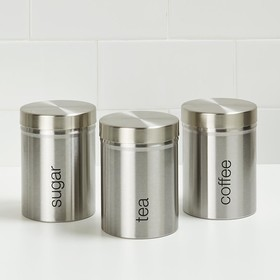 Brushed Stainless Steel Canisters - 3 Pack