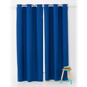 Navy Block Out Eyelet Curtain Pair