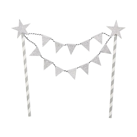 Glitter Flag Bunting Cake Topper - Silver Look