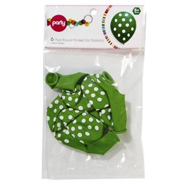 Round Balloons - Green, Dots, 6 Pack
