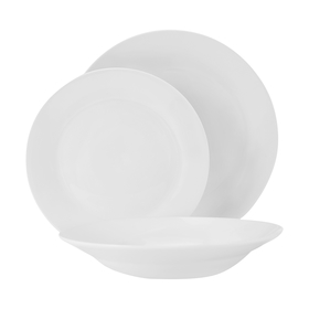 12-Piece White Rimmed Dinner Set