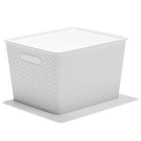 Rattan Style Storage Tub - White   Kmart