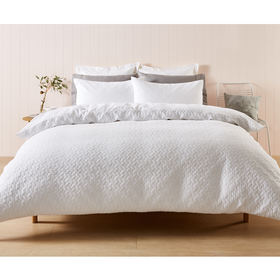 Zachery Quilt Cover Set - Queen Bed, White