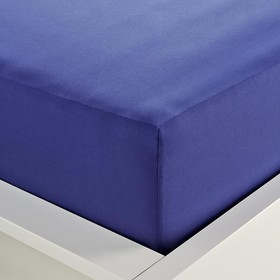 180 Thread Count Fitted Sheet - Double Bed, Mid Blue
