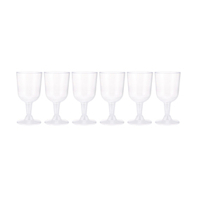 6 Pack 160ml Clear Plastic Wine Glasses