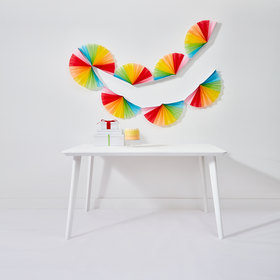 Rainbow Tissue Paper Fan Garland